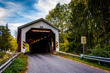 Covered bridge in rural Lancaster County, Pennsylvania.