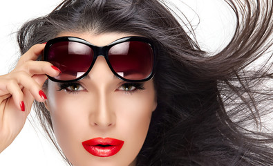 Beautiful Model Holding Fashion Sunglasses on Forehead