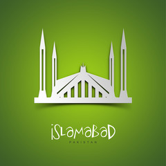 Islamabad, Pakistan. Green greeting card.