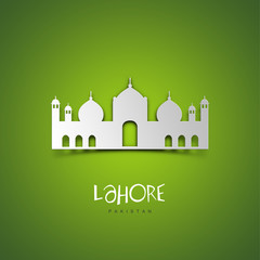 Lahore, Pakistan. Green greeting card.