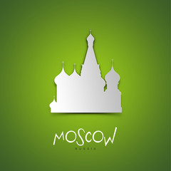 Moscow, Russia. Green greeting card.