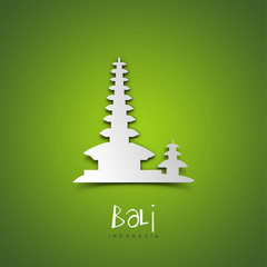 Bali, Indonesia. Green greeting card.