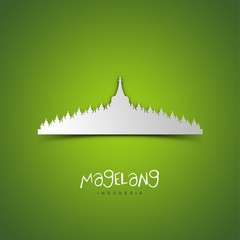 Magelang, Indonesia. Green greeting card.