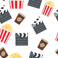 Cinema Seamless Pattern Background Vector Illustration