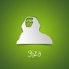 Giza, Egypt. Green greeting card.