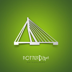 Rotterdam, Netherlands. Green greeting card.