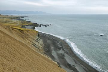 Deserted black sand beach