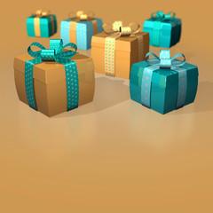 Dicke Geschenke Schleifen Herzen Gold Petrol
