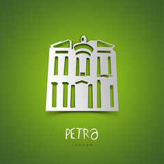 Petra, Jordan. Green greeting card.