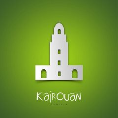 Kairouan, Tunisia. Green greeting card.