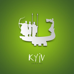 Kyiv, Ukraine. Green greeting card.
