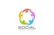 Social Network Logo design vector. Team circle icon