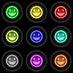 Button Glow 9er Smiley (schwarz)