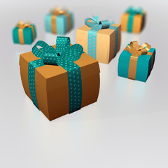 Dicke Geschenke Schleifen Herzen Gold Petrol grau