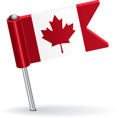 Canadian pin icon flag. Vector illustration