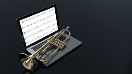 computer with trumpet