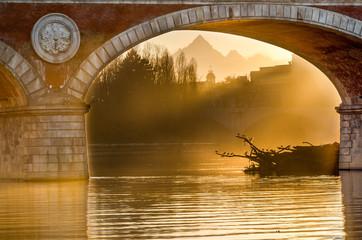 Turin (Torino), sunset on Monviso