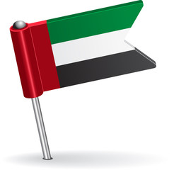 United Arab Emirates pin icon flag. Vector