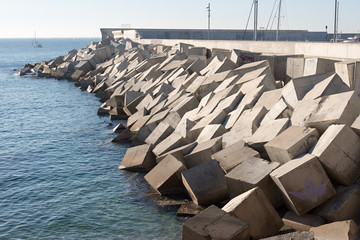 Breakwater cement blocks