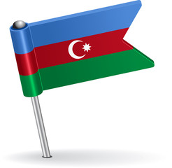 Azerbaijan pin icon flag. Vector illustration