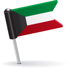 Kuwait pin icon flag. Vector illustration