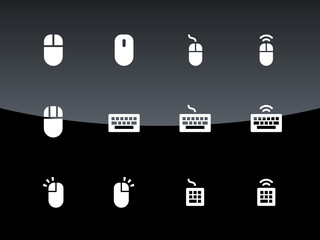 PC mouse and keypad icons on black background.
