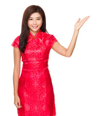 Chinese woman with hand show with blank sign