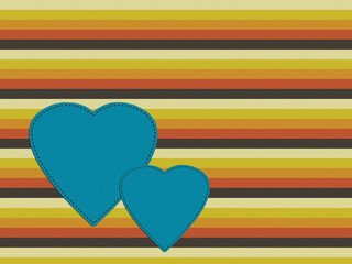 Retro seventies palette background with hearts, orange, brown, g