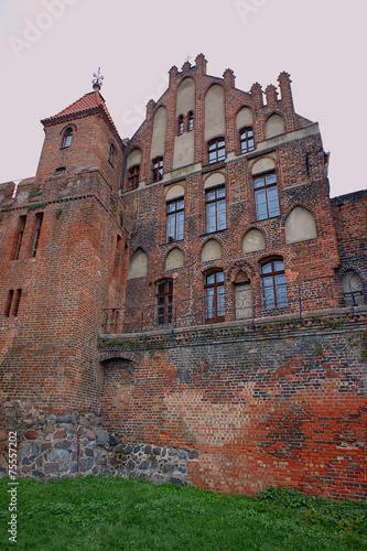 gothic windows in medieval building in Torun, Poland.