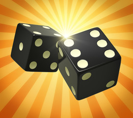 Black dice in yellow orange beams