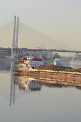 Cargo ship and cable-braced bridge