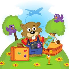 beaver traveler - vector illustration, eps