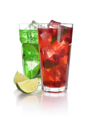 Drinks with lime and cranberry