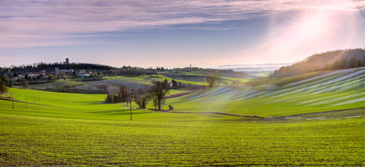 Monferrato early winter morning panorama. Color image