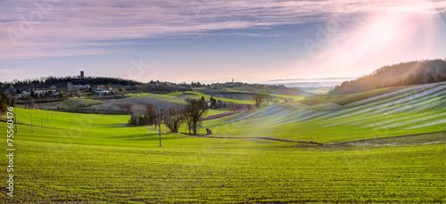 Leinwanddruck Bild Monferrato early winter morning panorama. Color image