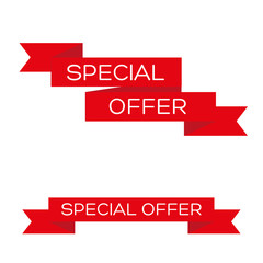 Special offer red ribbon banner icon