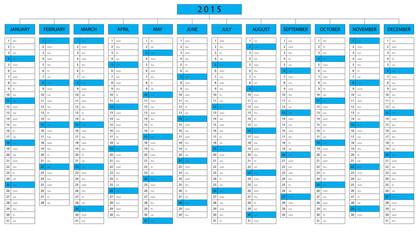 Column calendar for year 2015