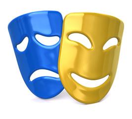 Yellow happy and sad blue masks