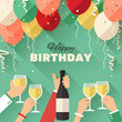 Birthday party. Poster / flyer / greeting card in a flat style - 75561227