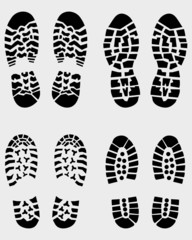 Black prints of various shoes, vector Illustration