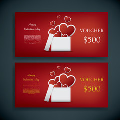 Valentine's day gift card voucher template with traditional