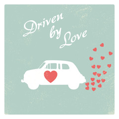 Vintage car driven by love romantic postcard design for