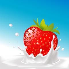 vector splash of milk with big strawberry- illustration