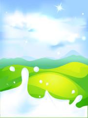 splash of milk - vector illustration with green field