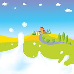 splash of milk - vector illustration with green field, village
