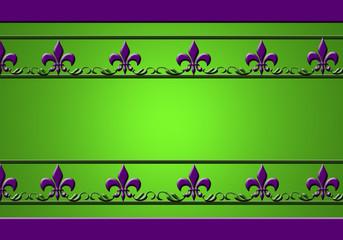 Flor de Lis, lirio, greca, fondo verde iluminado