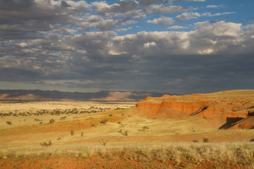 Namibian landscape at the sunset