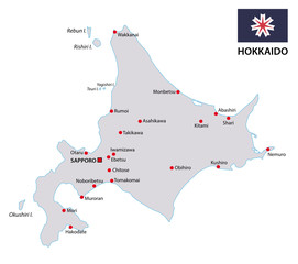 hokkaido map with flag