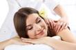 Beautiful young woman having massage in spa salon