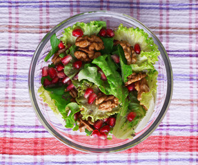 Fresh salad with greens, garnet and spices